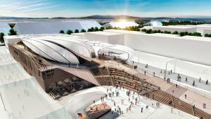 EXPO MILANO 2015 - Der Deutsche Pavillon. Im Vordergrund die Deutsche Piazza mit Bühne ©Schmidhuber