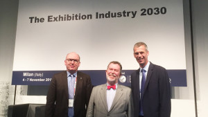 UFI Congress 2015 in Milan: Dr. Peter Neven, AUMA Managing Director, Paul Woodward, former UFI Managing Director, Kai Hattendorf, UFI Managing Director (from left)