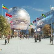 Modell des kugelförmigen Herzstücks der Site: 20.000 m² auf acht Ebenen