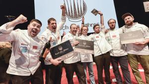 """Kein Bock auf Messe? Die Gewinner der """"Koch des Jahrs""""-Show auf der Anuga sind keine Messeabstinenzler. Foto: Koelnmesse"""