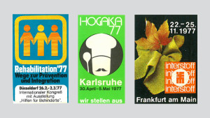 Werbemarken aus den 1970er Jahren: Rehabilitation, Düsseldorf 1977 - Hogaka, Karlsruhe 1977 - interstoff, Frankfurt a.M. 1977 (Fotos © AUMA)
