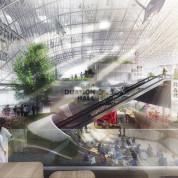 Deutscher Pavillon: Das Atrium mit Blick auf die Labs und die Bühne