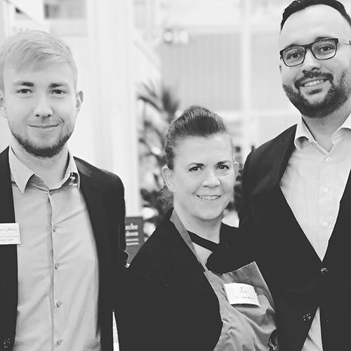 Christine Reich mit Maximilian Gahr und Jean-Paul Naudon Diaz von der Nürnberg Messe. @ Dr. Reich`s Family GmbH